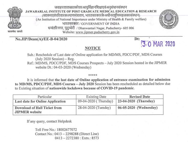 JIPMER_PG_official_notice