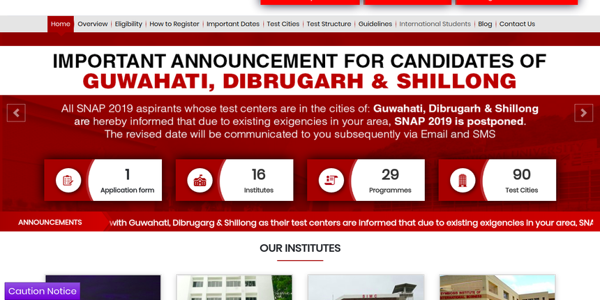 SNAP 2019 postponed in Dibrugarh, Shillong & Guwahati due to CAB protest