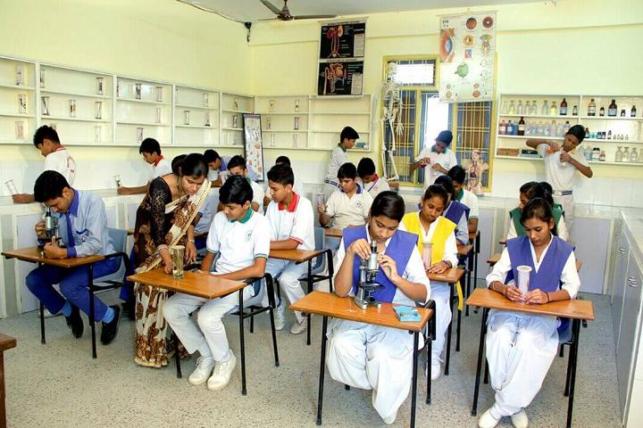 Garima Vidya Vihar Higher Secondary School-Laboratory biology with students