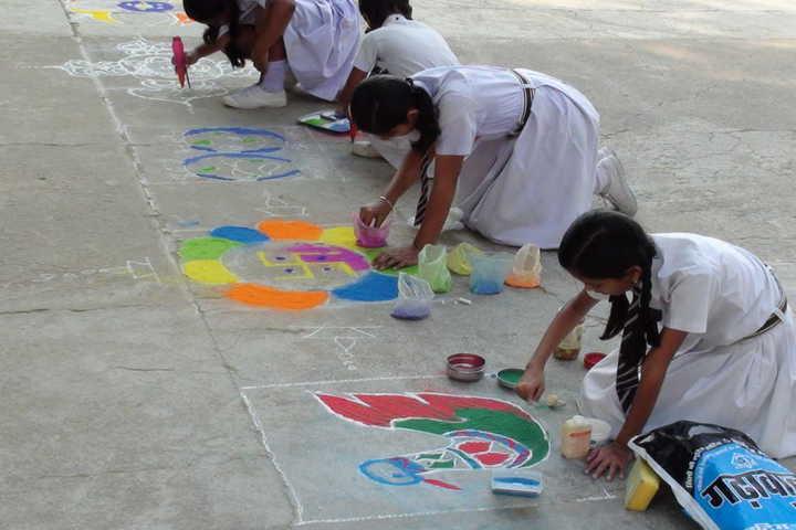 St JosephS Convent Senior Secondary School-Rangoli Competition
