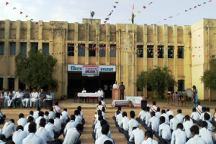 Jawahar Navodaya Vidyalaya-Campus-View front with students