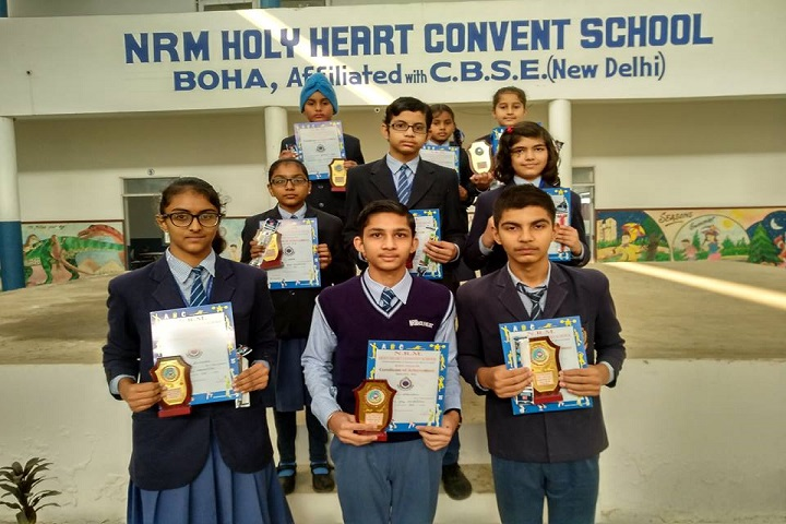NRM Holy Heart Convent School-Students with Trophies