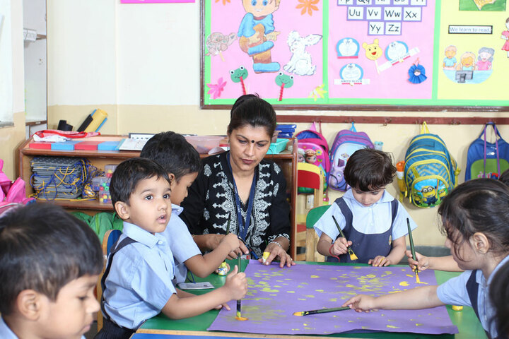 Amity International School - Little Kids paint Classes