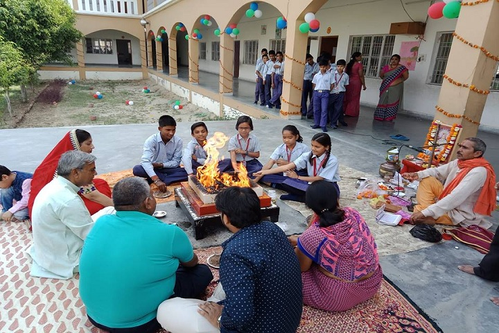 Harish Raghav Public School-Campus-View iside with performing puja
