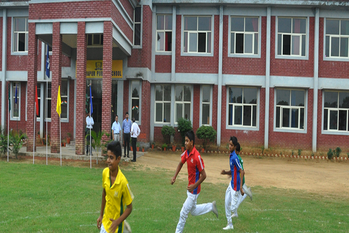 Hastinapur Public School-Campus-View front with sports