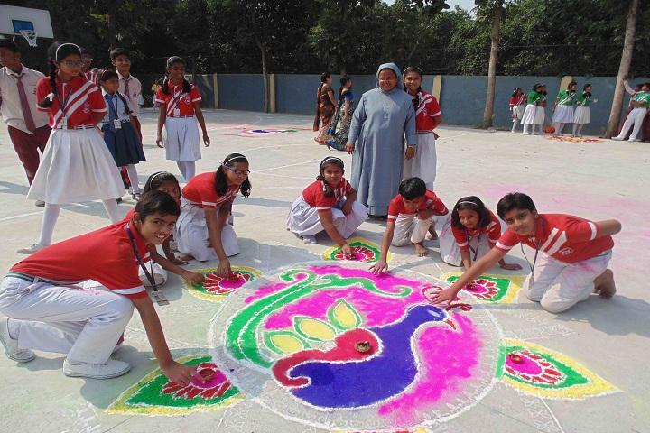 Holy Family School-Events rangoli