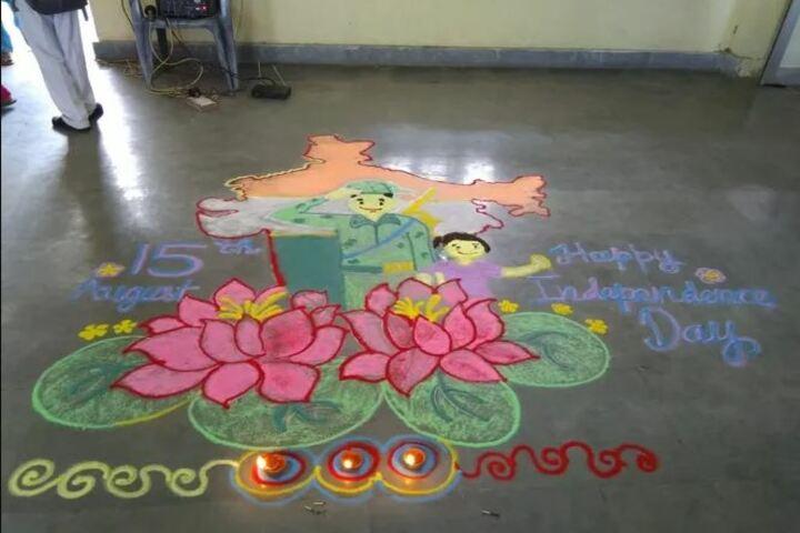 S B Model School-Rangoli Competition