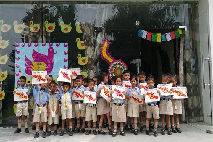Sunshine Public School-making rakhi