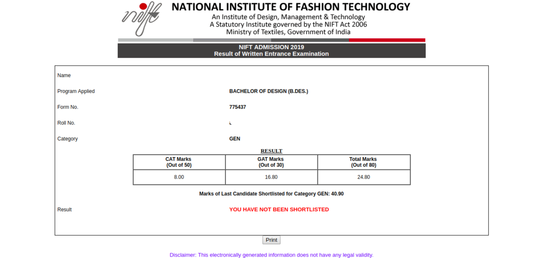 NIFT Result 2019 (Declared) - Check NIFT Final Result for B des