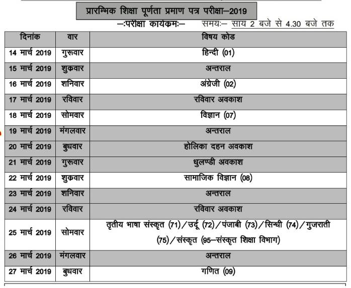 RBSE 8th Time Table 2020 - Check Rajasthan Board Class 8th Dates