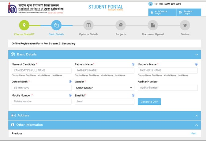 NIOS class 12 registration Basic details window