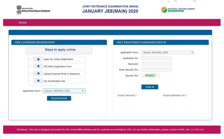 JEE Main Application Form 2020, Registration (Started