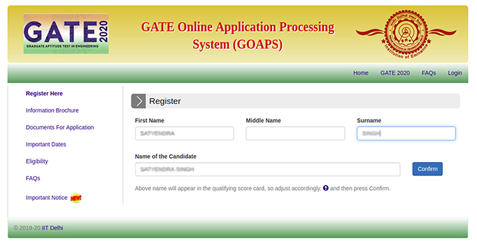 How to fill GATE 2020 Application Form - Step by step Procedure