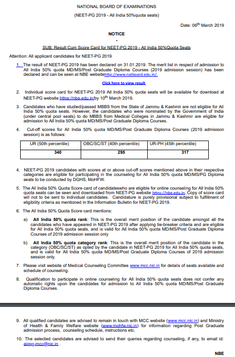 NEET PG Merit List 2019, Rank Card, AIQ, State & UT Quota