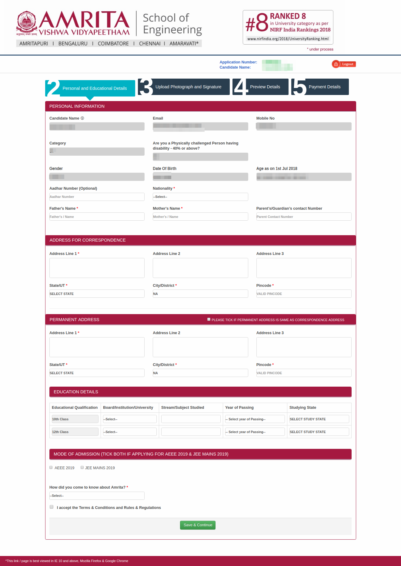AEEE Application Form 2019 (Released), Registration – Apply online