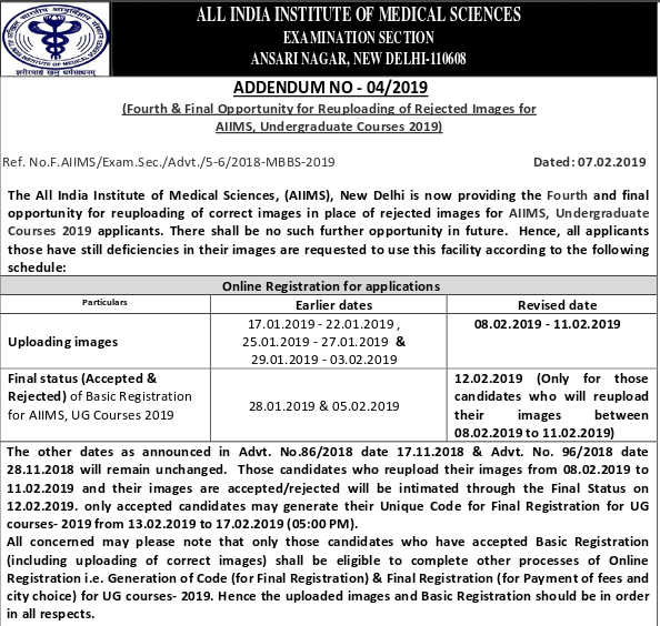 aiims application form 2019 mbbs final registration on february 21