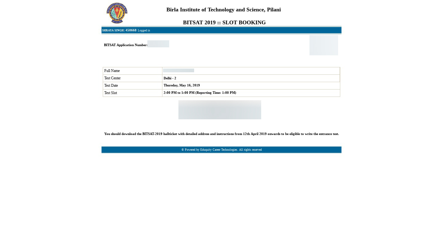 Bitsat 2017 Application Form For Mtech, After The Candidates Have Booked Their Slot Of Bitsat 2019 Candidates Are Advised To Cross Check The Details As Mentioned In The Process And Make The, Bitsat 2017 Application Form For Mtech