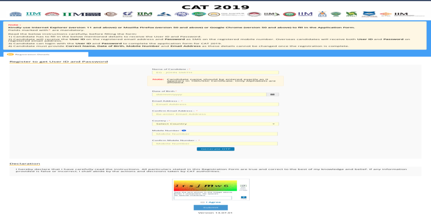How to fill CAT 2019 Application Form - Step by Step Guide
