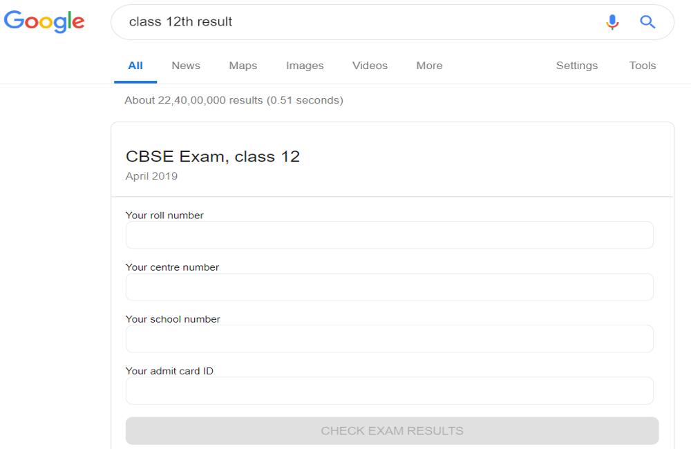 CBSE-class-12-result-via-google