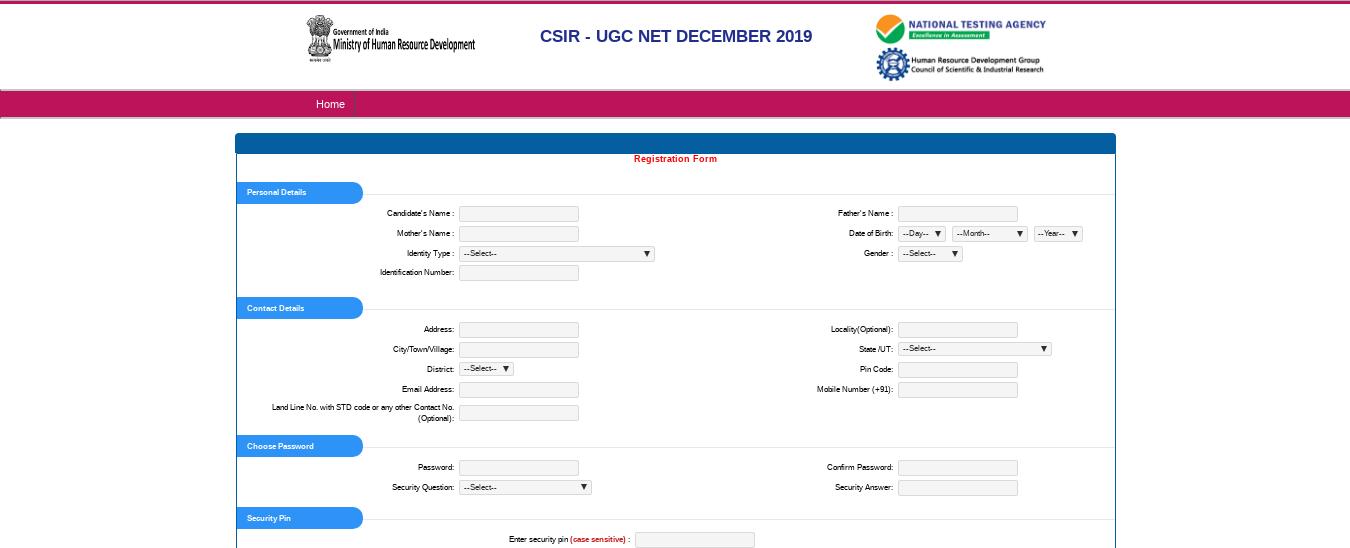 CSIR-UGC-NET-Application-screen