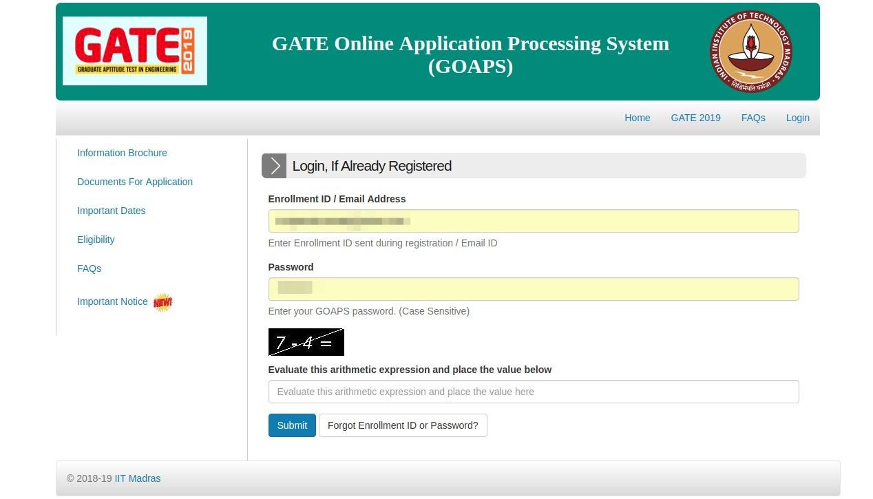 GATE Admit Card 2020 - Download Hall Ticket @GOAPS gate iitm