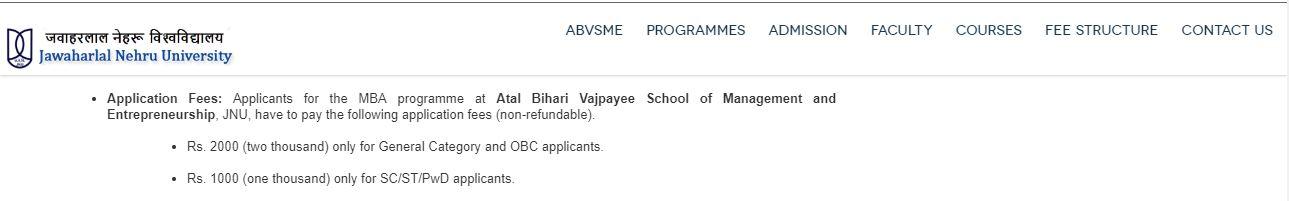 JNU-MBA-Application-Form-Fees