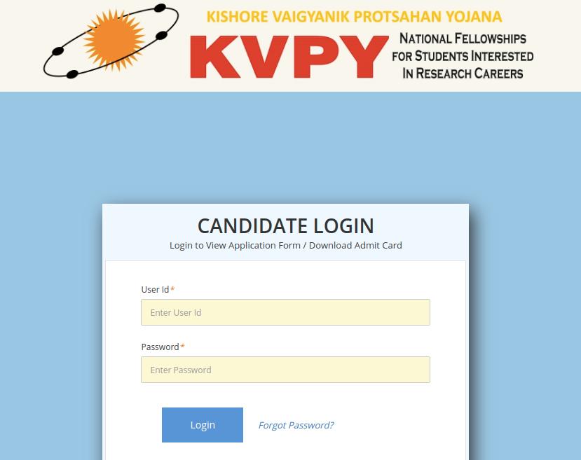KVPY-admit-card-login