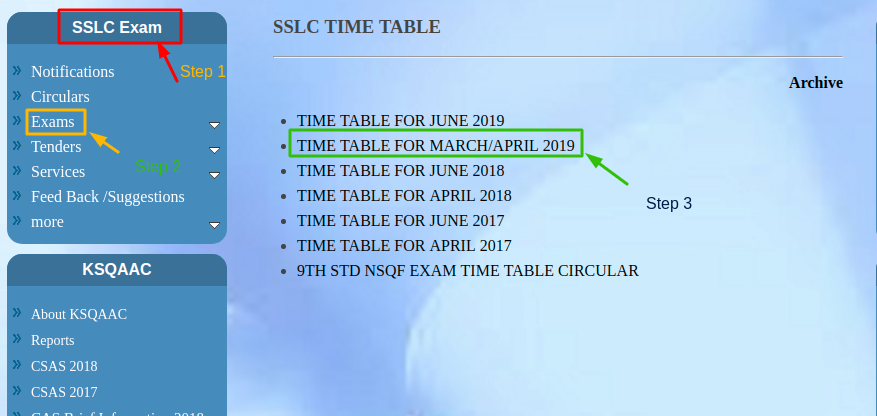 Karnataka-SSLC-Time-Table-Steps