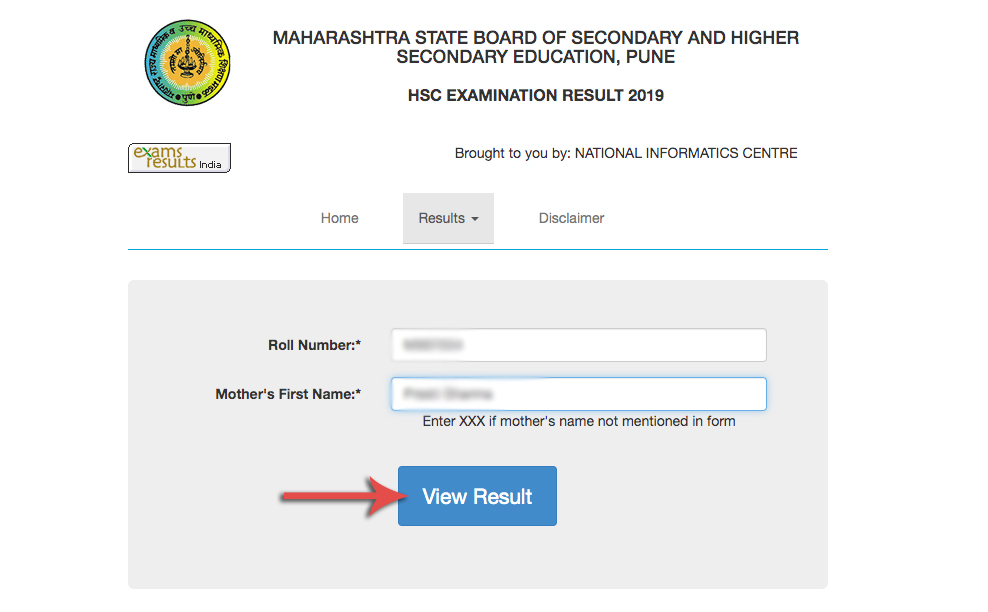 Maharashtra HSC Result window