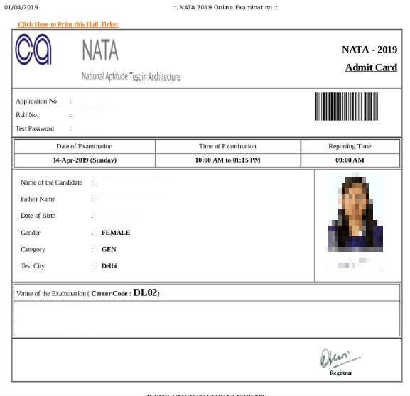 NATA Admit Card 2019 (Released) - Download Hall Ticket