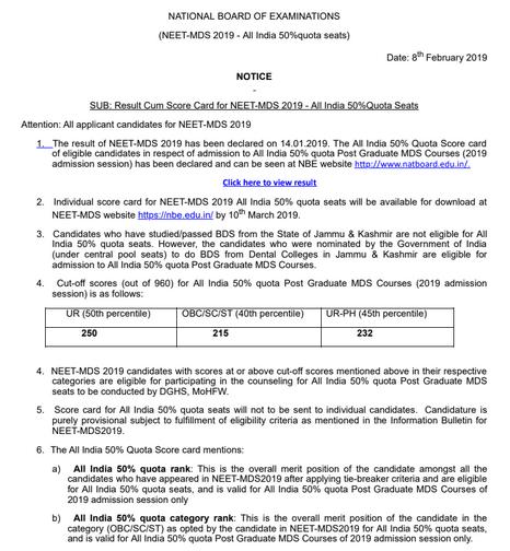 NEET MDS Result 2019 (Revised) - AIQ, CR, Cutoff, Merit List