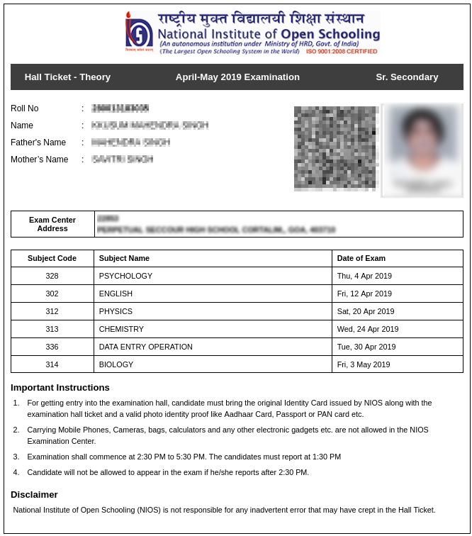 NIOS 12th admit card for Theory exams