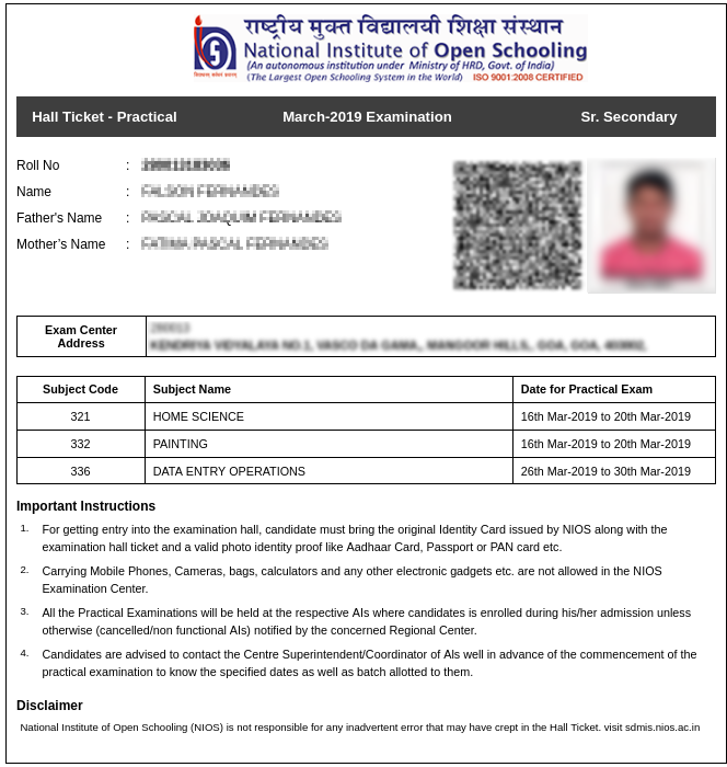 NIOS class 12 admit card for Practical exams