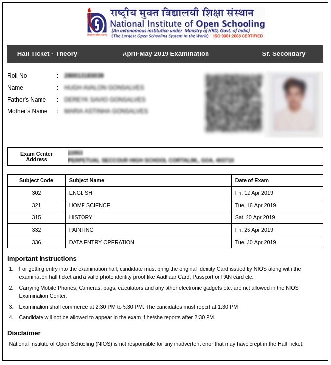 NIOS-Admit-card