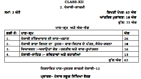 PSEB-Syllabus-12th-Class-Punjabi