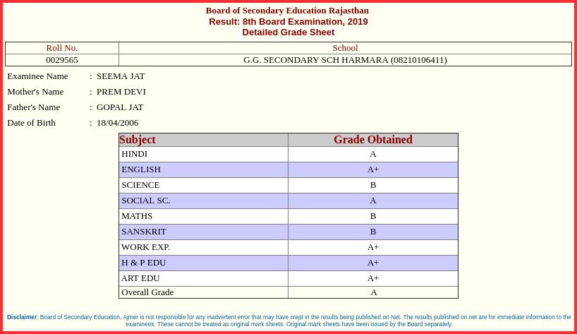 Rajasthan-Board-8th-Result-Marksheet