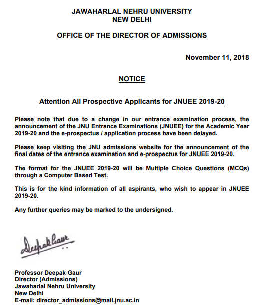 JNU Admission 2019 – JNUEE Result (Released), Cutoff, Counseling