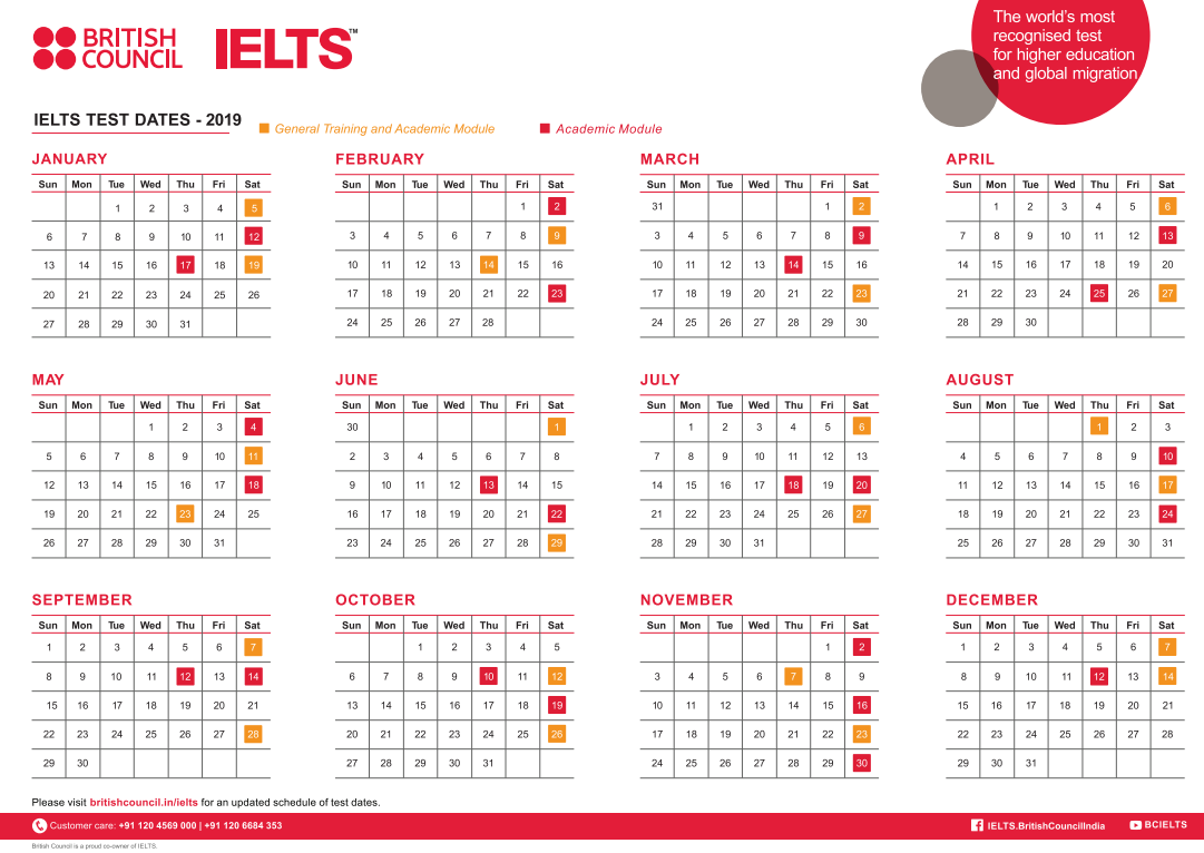 IELTS Test Dates 2019 (India & Global) - By British Council and IDP