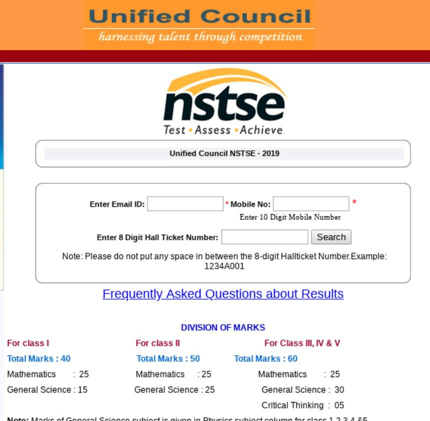 NSTSE Result 2020 (Class I to XII)- Check Unified Council
