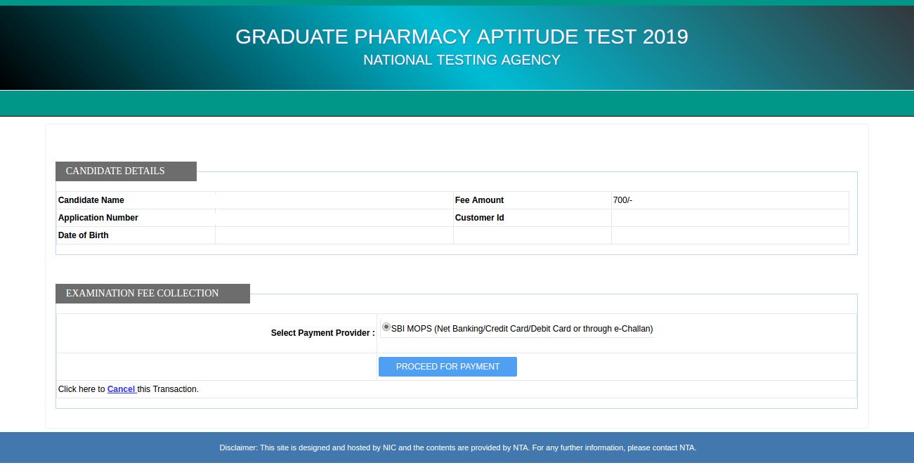 GPAT Registration / Application Form 2020 - Apply here