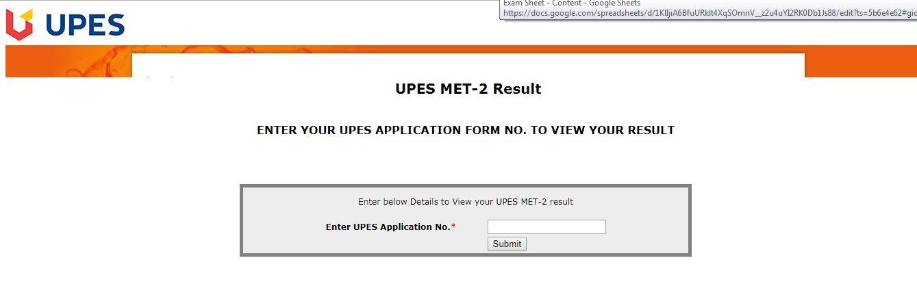 UPESMET-Result-login-page
