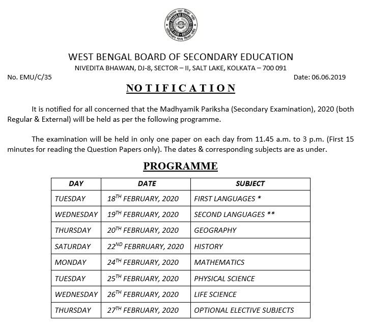 West-Bengal-madhyamik-exam-routine