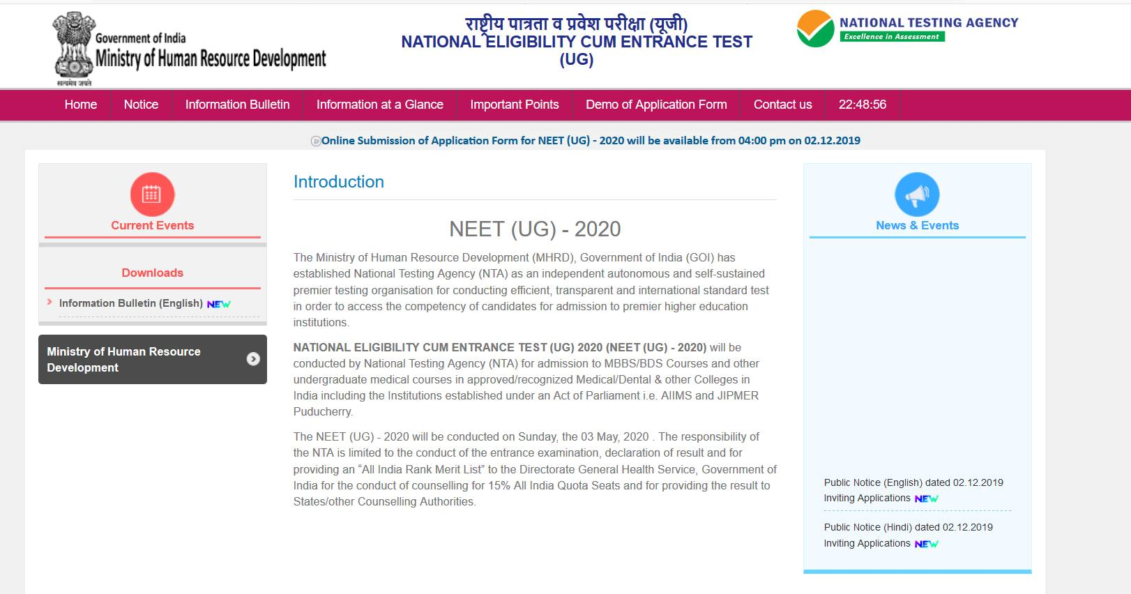NEET 2020: Application Form (Out), Exam on May 3, Syllabus
