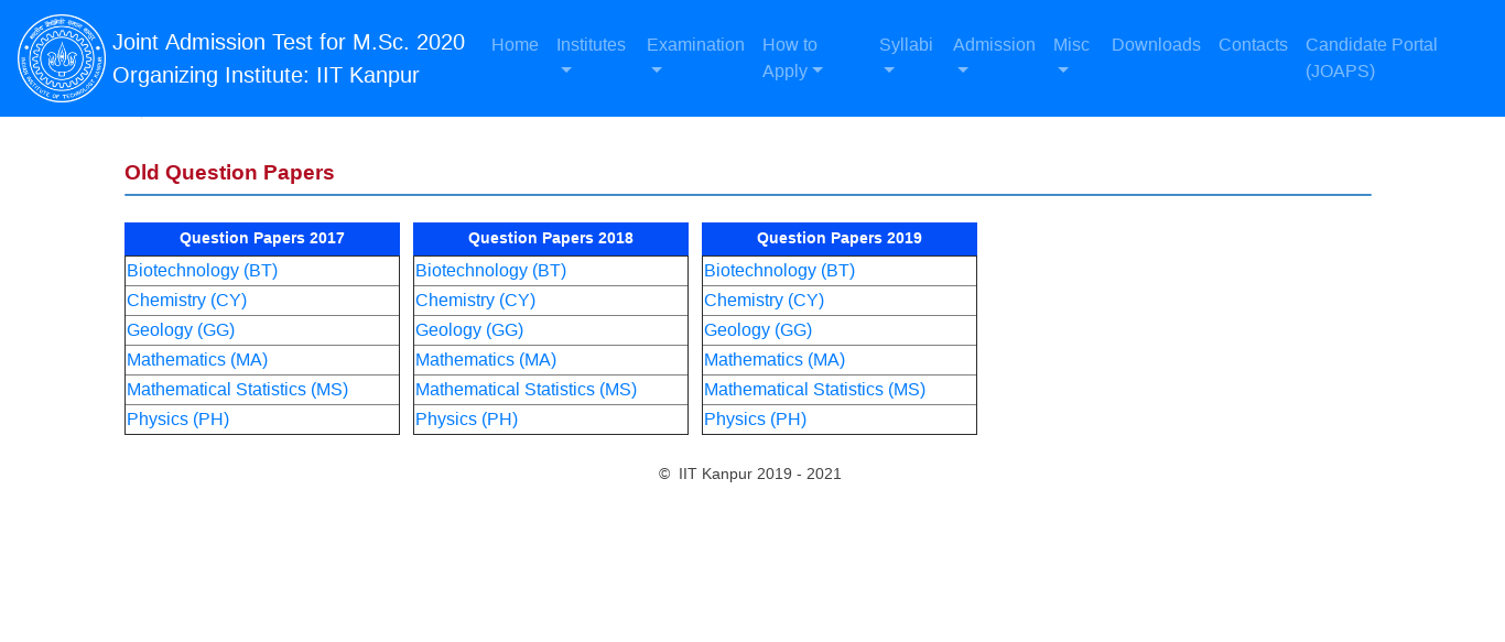 JAM Sample Papers 2020, 19, 18, 17 - Previous Year Solved